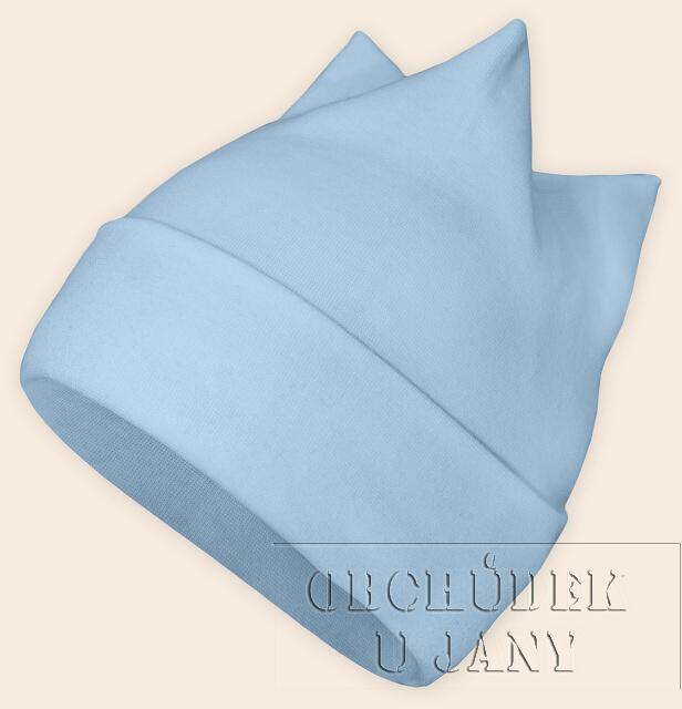 Čepice rohatka modrá světlá