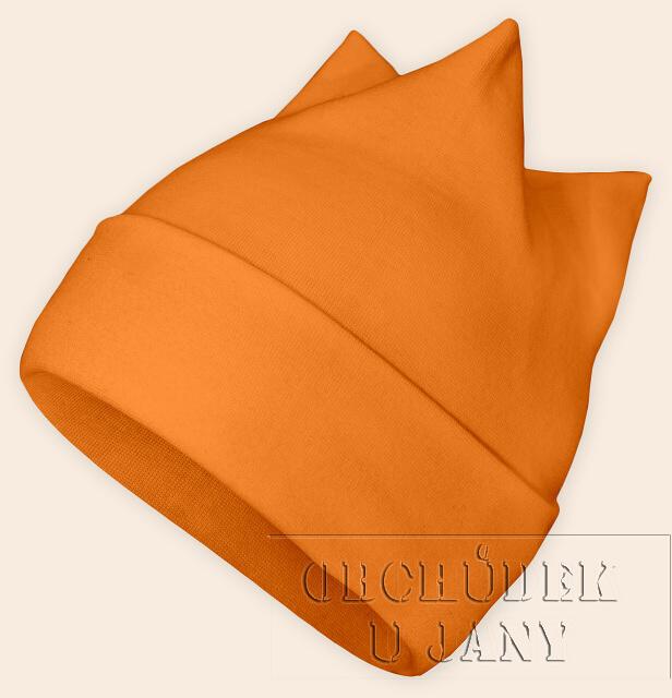 Čepice rohatka oranžová světlá