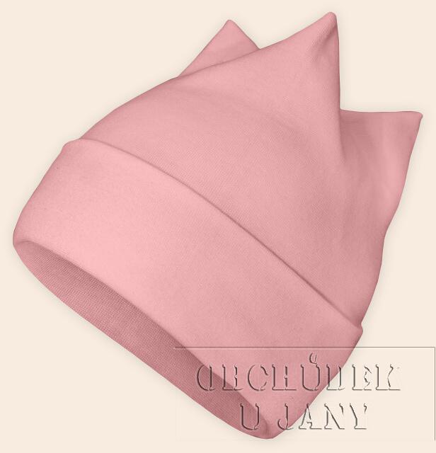 Čepice rohatka růžová světlá