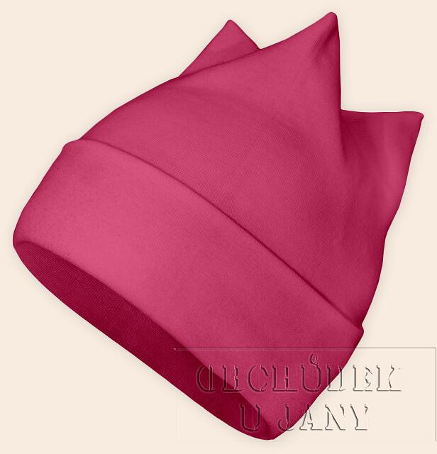 Čepice rohatka růžová tmavá