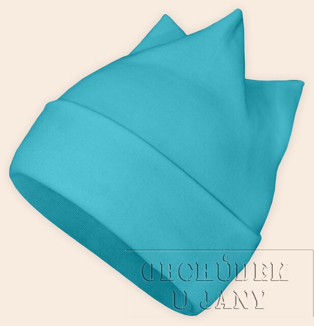 Čepice rohatka modrá tyrkysová