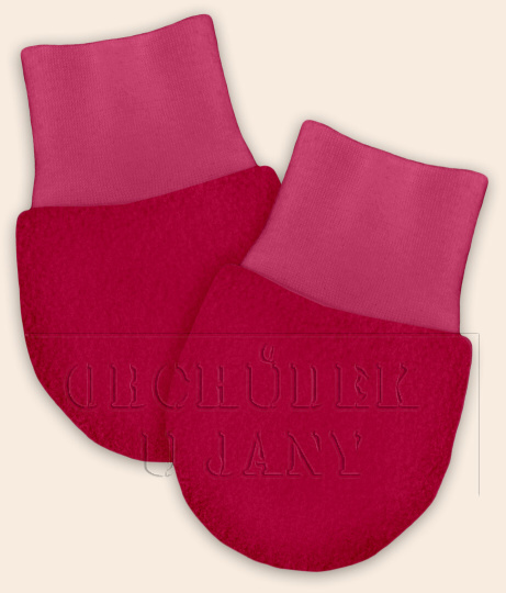 Kojenecké flísové rukavičky růžové tmavé