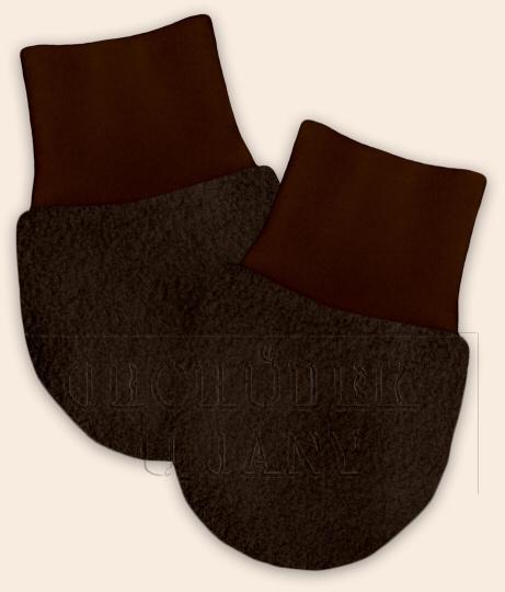 Kojenecké flísové rukavičky hnědé