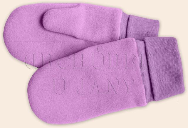 Flísové palcové rukavice - palčáky lila