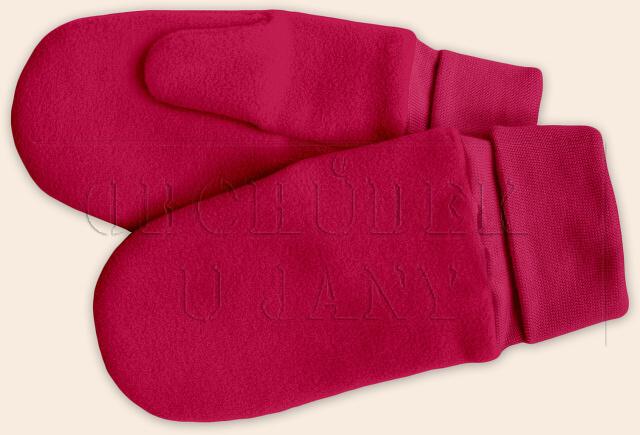 Flísové palcové rukavice - palčáky růžové tmavé