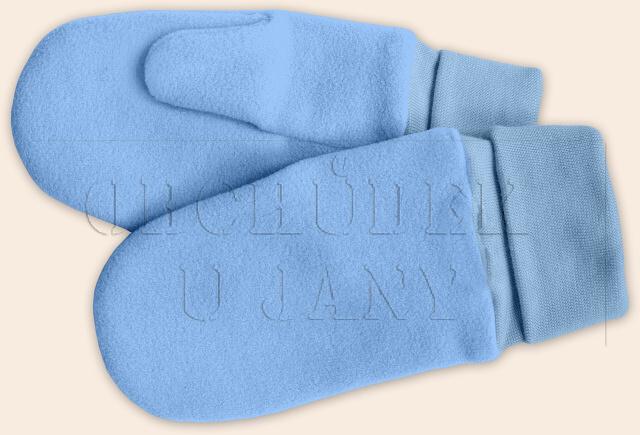 Flísové palcové rukavice - palčáky modré světlé