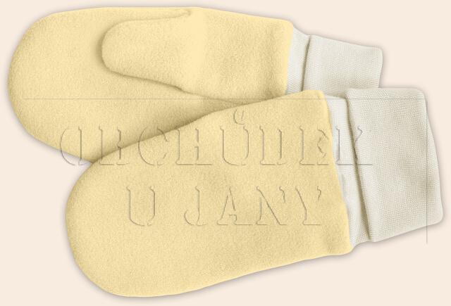 Flísové palcové rukavice - palčáky žluté