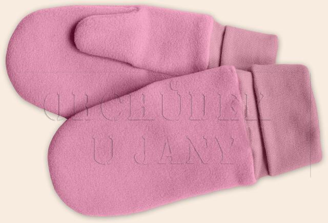 Flísové palcové rukavice - palčáky růžové světlé