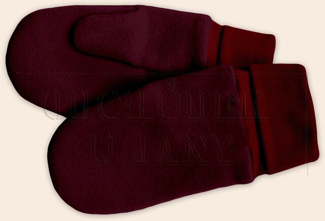 Flísové palcové rukavice - palčáky bordó