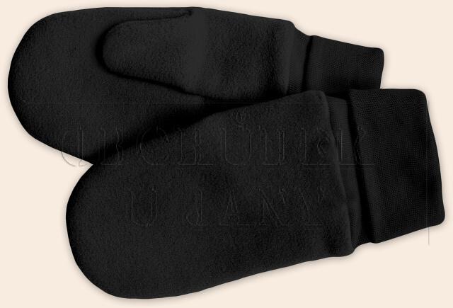 Flísové palcové rukavice - palčáky černé
