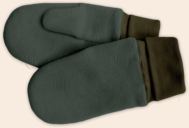 Flísové palcové rukavice - palčáky khaki