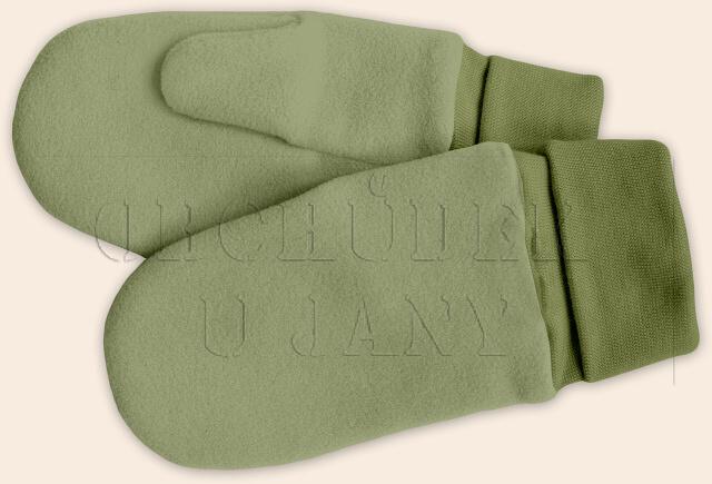 Flísové palcové rukavice - palčáky zelené