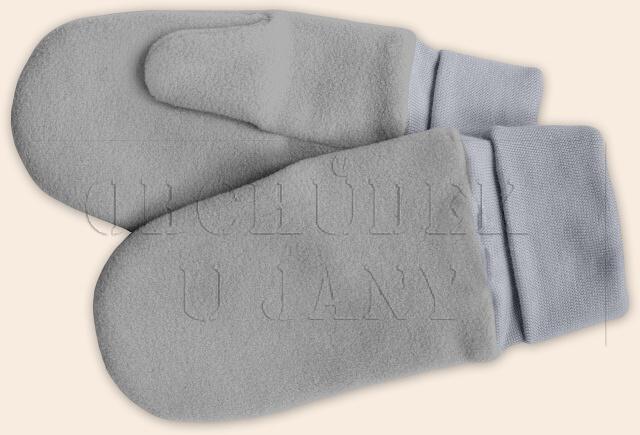Flísové palcové rukavice - palčáky šedé světlé