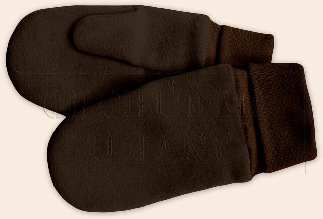 Flísové palcové rukavice - palčáky hnědé