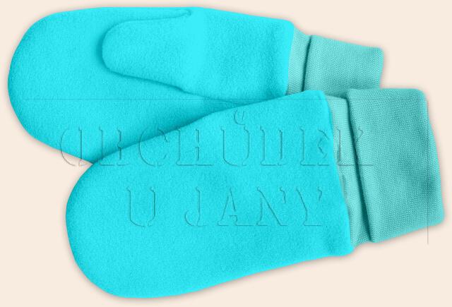 Flísové palcové rukavice - palčáky modré tyrkysové