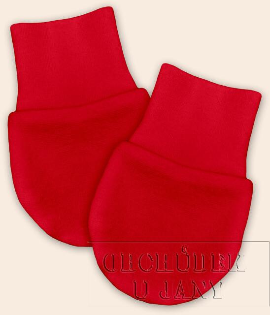 Kojenecké rukavičky bez palečku červené