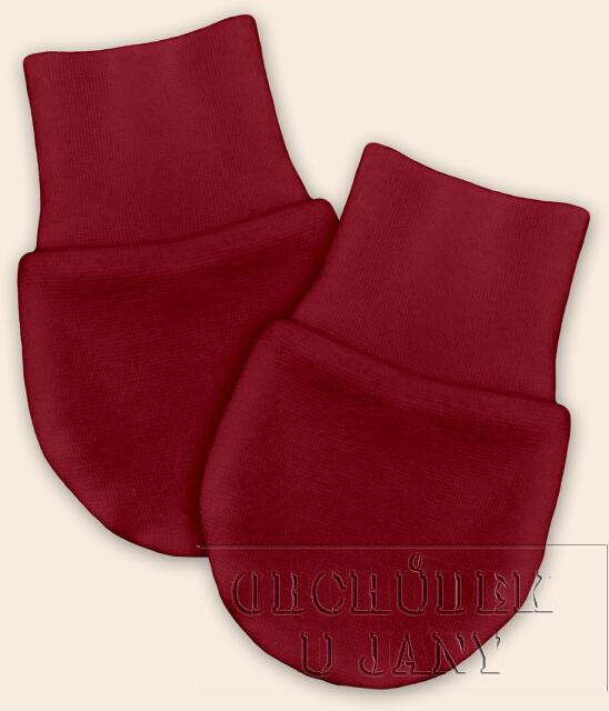 Kojenecké rukavičky bez palečku bordó