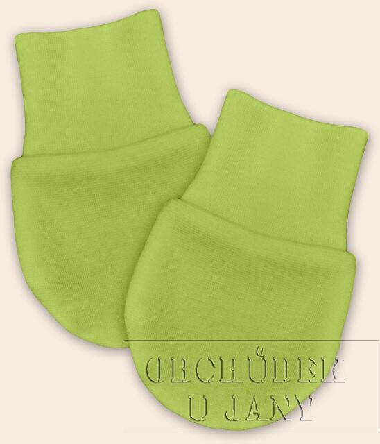 Kojenecké rukavičky bez palečku zelené hráškové