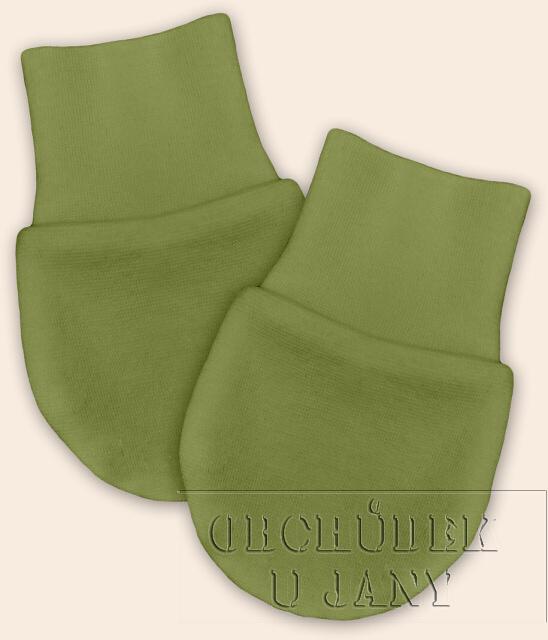 Kojenecké rukavičky bez palečku zelené olivové
