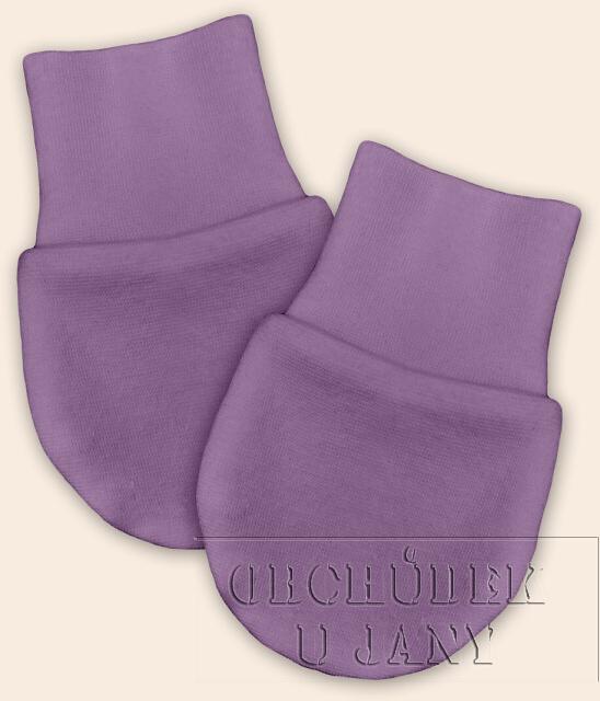 Kojenecké rukavičky bez palečku fialové šeříkové