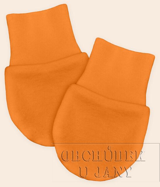 Kojenecké rukavičky bez palečku oranžové světlé