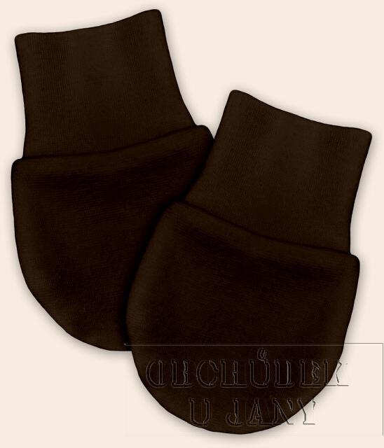 Kojenecké rukavičky bez palečku hnědé