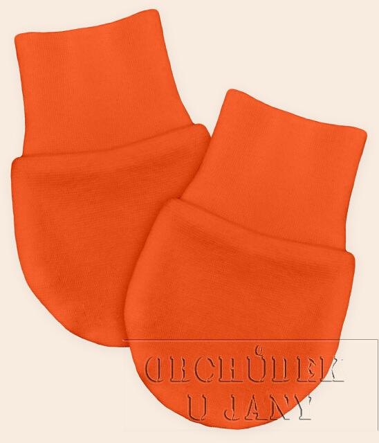 Kojenecké rukavičky bez palečku oranžové tmavé