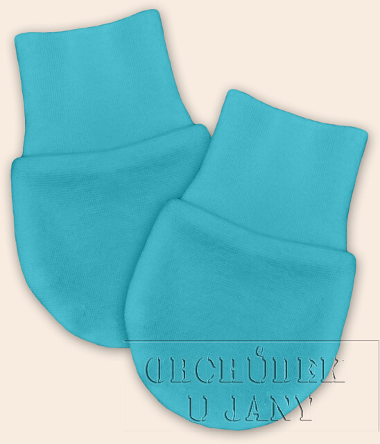 Kojenecké rukavičky bez palečku modré tyrkysové