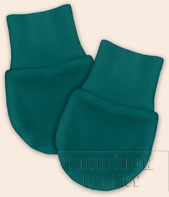 Kojenecké rukavičky bez palečku zelenomodré
