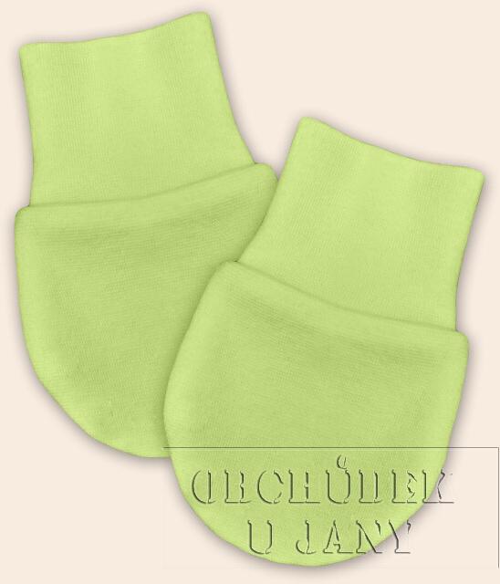 Kojenecké rukavičky bez palečku zelenkavé