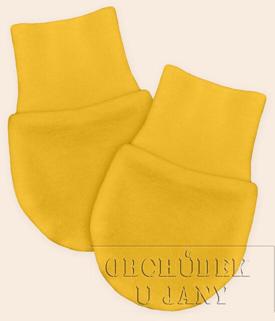 Kojenecké rukavičky bez palečku žluté