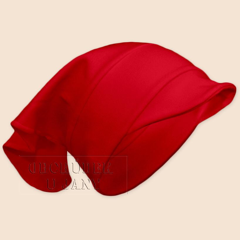 Dívčí šátek s kšiltem červený