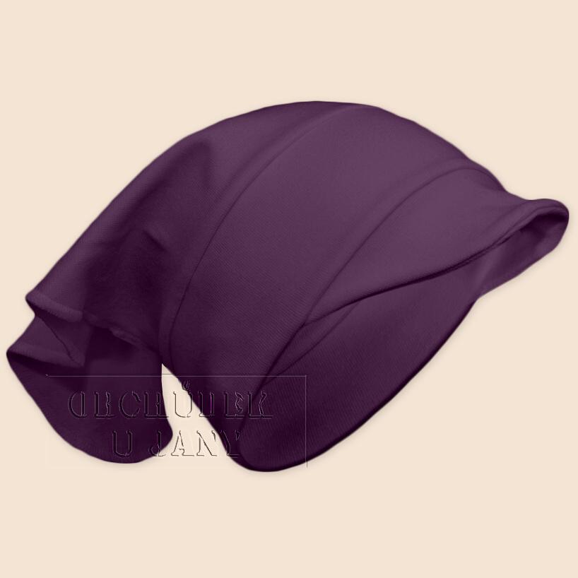 Dívčí šátek s kšiltem fialový