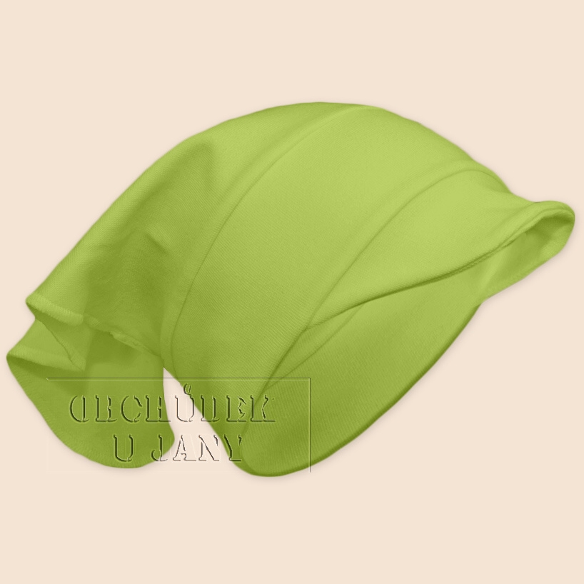 Dívčí šátek s kšiltem zelený hráškový