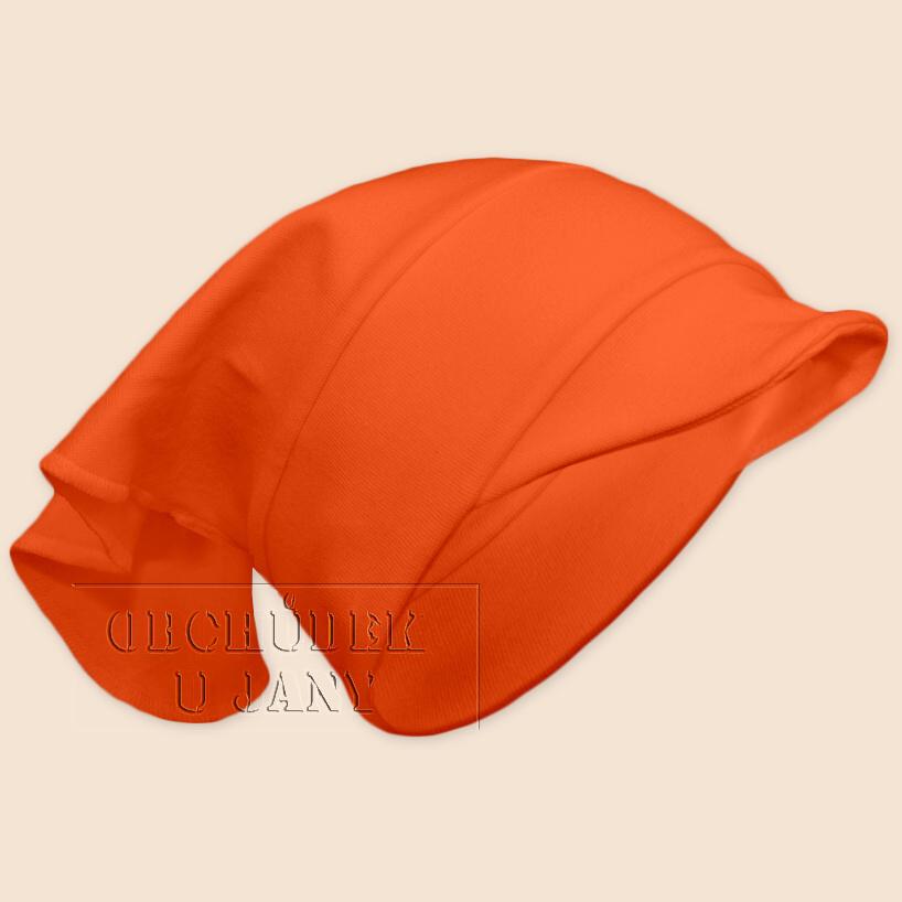 Dívčí šátek s kšiltem oranžový tmavý