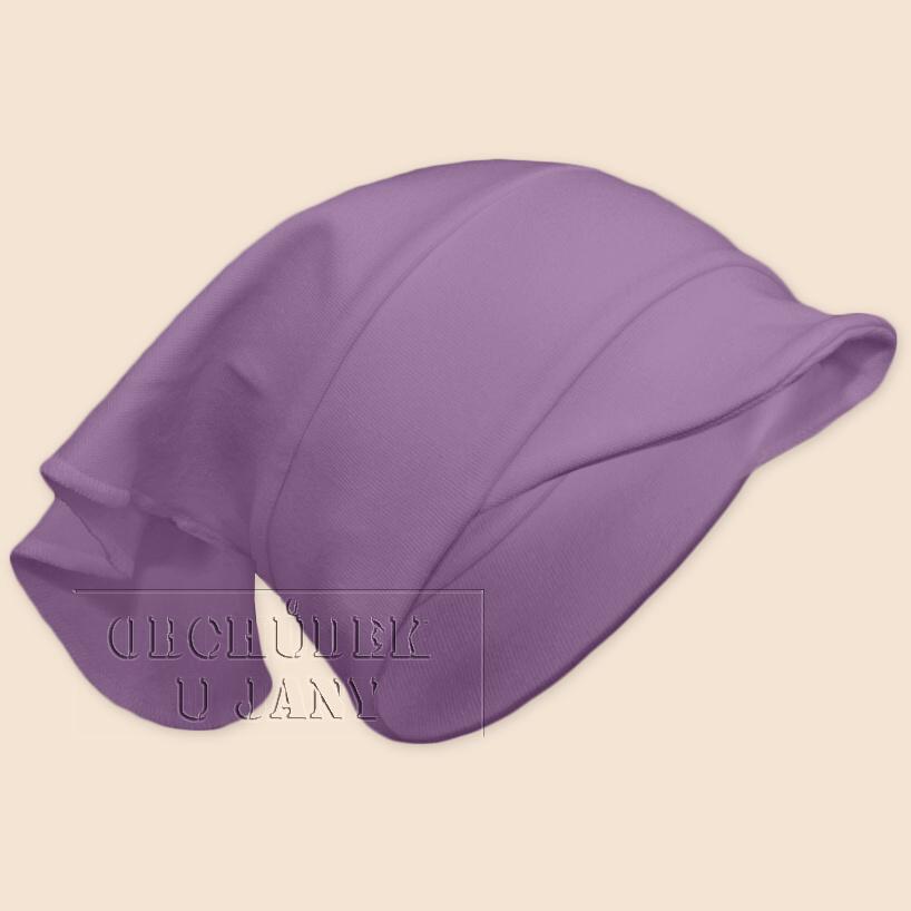 Dívčí šátek s kšiltem fialový šeříkový