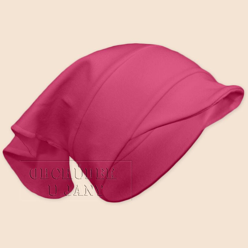 Dívčí šátek s kšiltem růžový tmavý