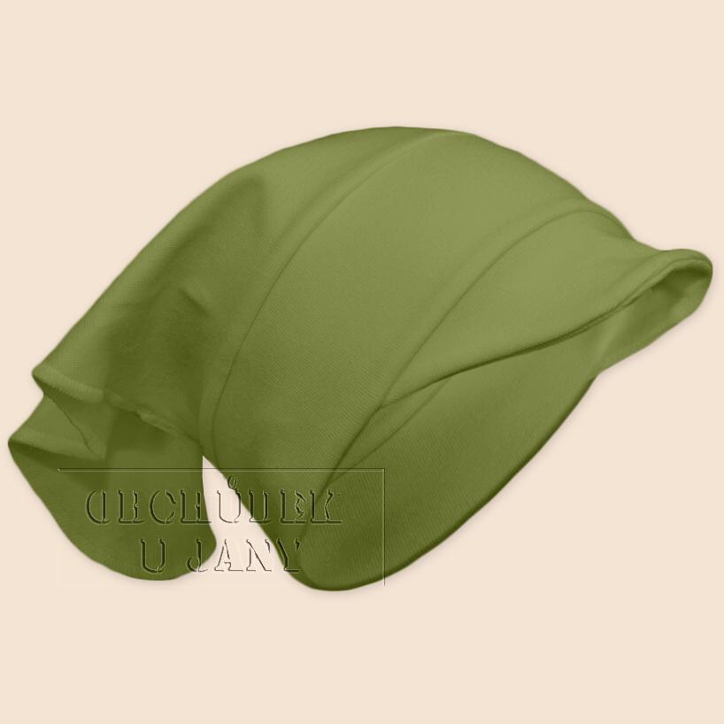 Dívčí šátek s kšiltem zelený olivový