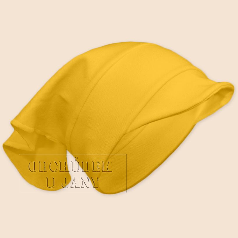 Dívčí šátek s kšiltem žlutý