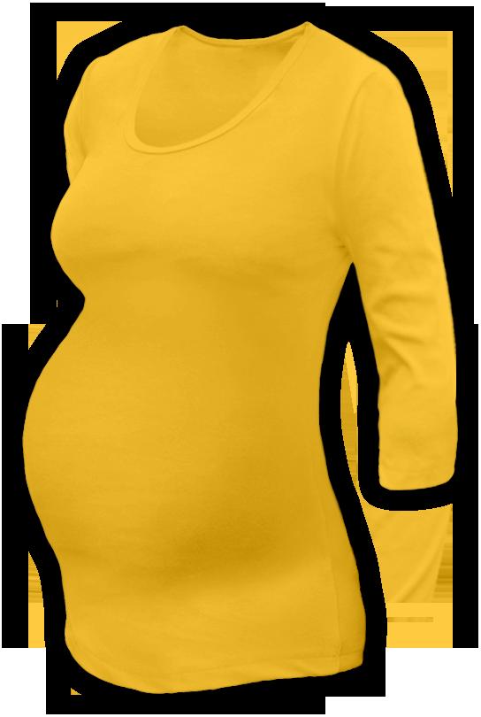 Těhotenské tričko 3/4 rukáv žluté