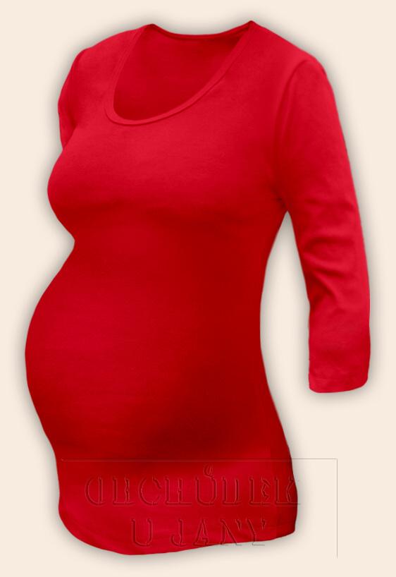 Těhotenské tričko 3/4 rukáv červené