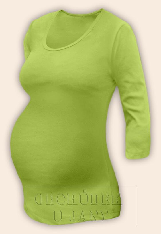 Těhotenské tričko 3/4 rukáv zelené hráškové