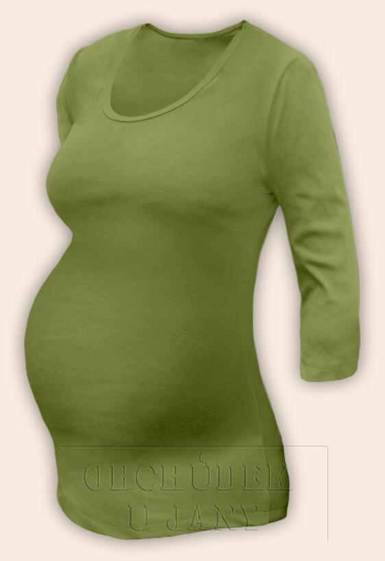 Těhotenské tričko 3/4 rukáv zelené olivové
