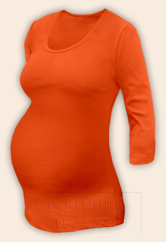 Těhotenské tričko 3/4 rukáv oranžové tmavé