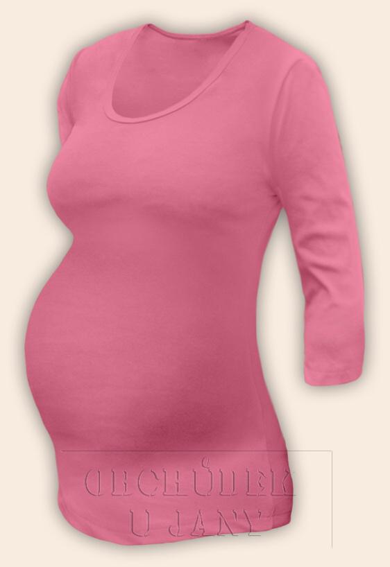 Těhotenské tričko 3/4 rukáv růžové