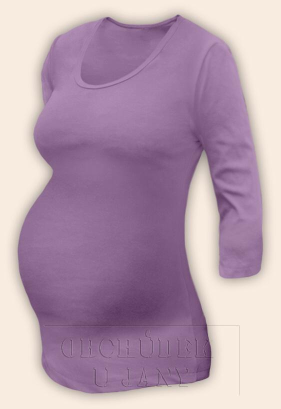 Těhotenské tričko 3/4 rukáv fialové šeříkové