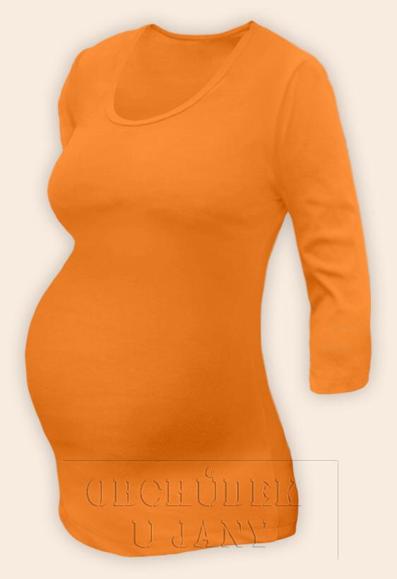 Těhotenské tričko 3/4 rukáv oranžové světlé
