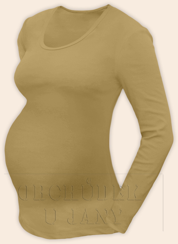 Těhotenské tričko dlouhý rukáv béžové