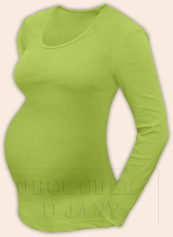 Těhotenské tričko dlouhý rukáv zelené hráškové