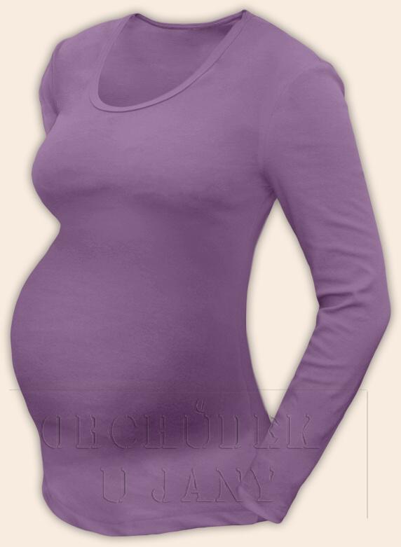 Těhotenské tričko dlouhý rukáv fialové šeříkové